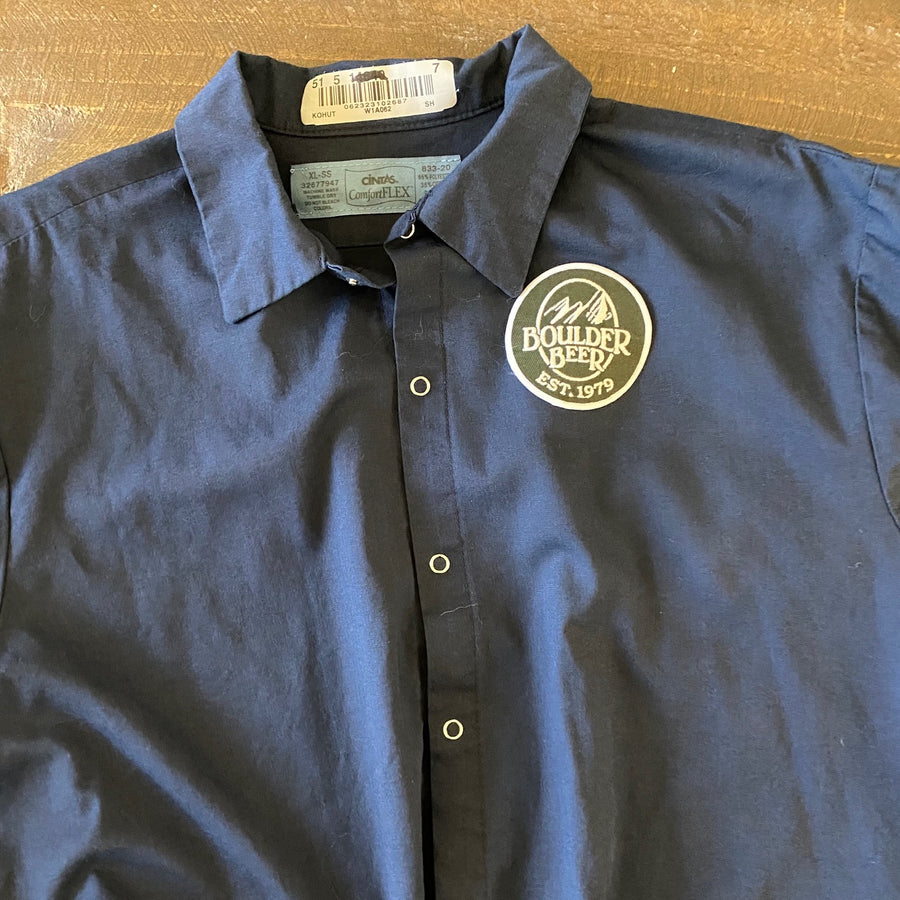 Vintage Men's Work Shirt Size XL with Boulder Beer Co Embroidered Patch