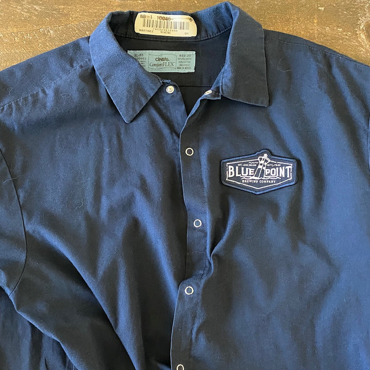 Vintage Men's Work Shirt Size XL with Blue Point Brewing Logo Embroidered Patch