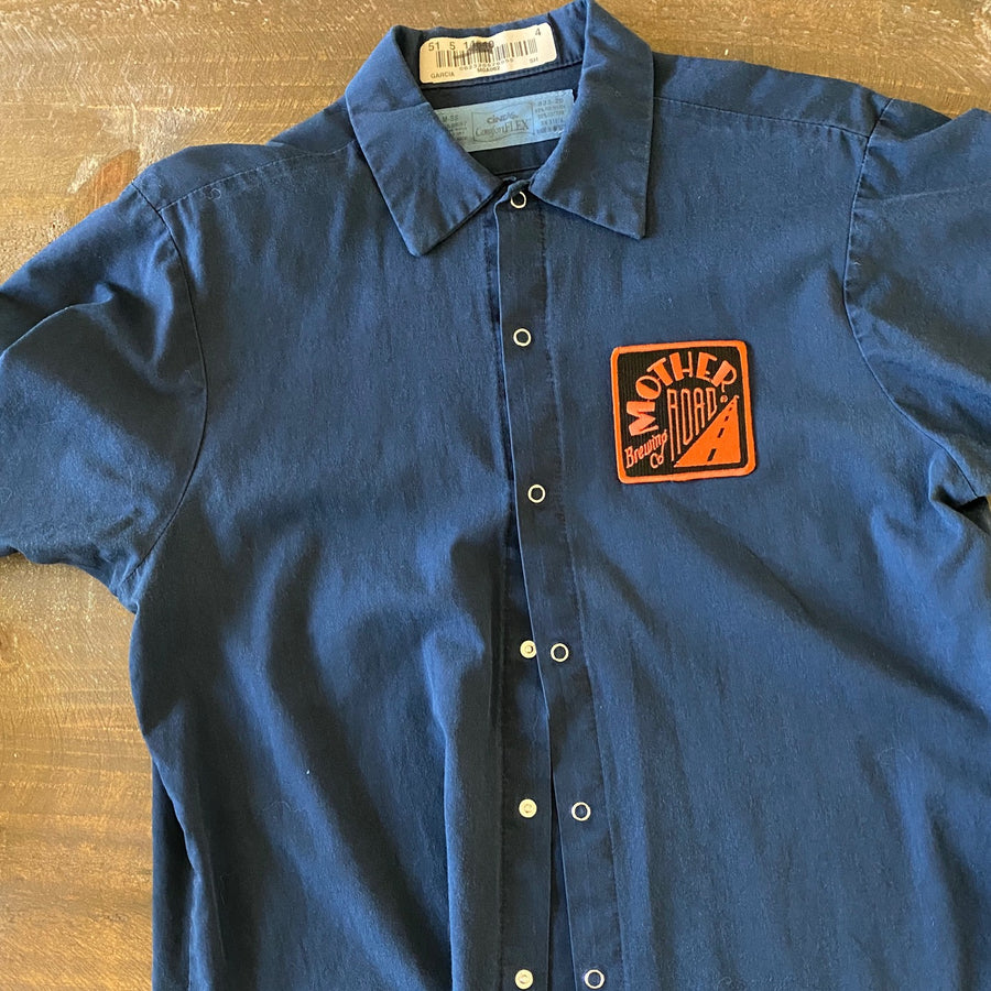 Vintage Men's Work Shirt Size M with Mother Road Brewing Co Embroidered Patch