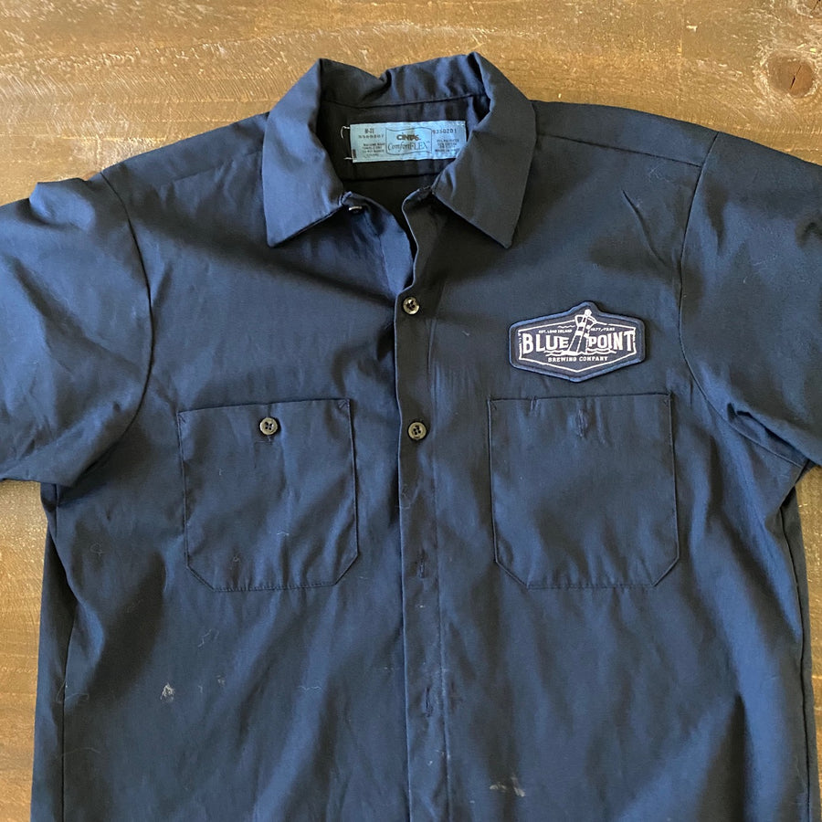 Vintage Men's Work Shirt Size M with Blue Point Brewing Co Embroidered Patch