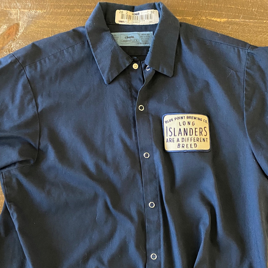 "Vintage Men's Work Shirt Size M with Blue Point Brewing Co ""Long Islanders"" Embroidered Patch"