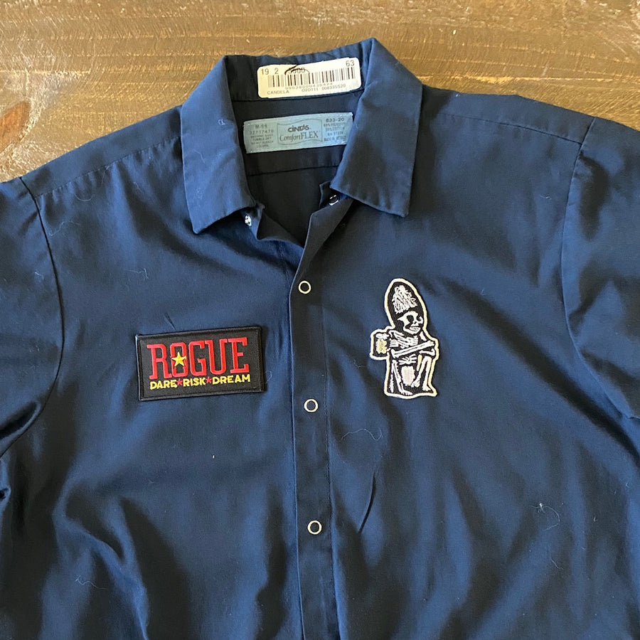 Vintage Men's Work Shirt Size M with Rogue Ales and Dead Guy Ale Embroidered Patches