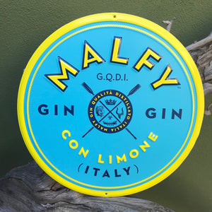 Malfy Con Limone Gin Italy Logo Tin Tacker Metal Sign