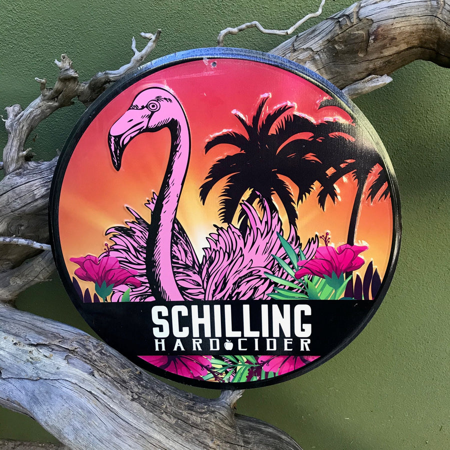 "Schilling Hard Cider ""Grapefruit and Chill"" Tin Tacker Metal Beer Sign"