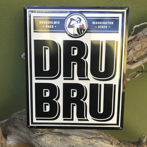 DRU BRU Brewing Co Logo Tin Tacker Metal Beer Sign