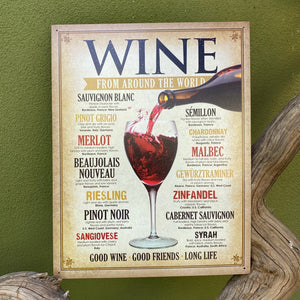Vintage Look - Wine from Around the World Metal Sign Tin Tacker