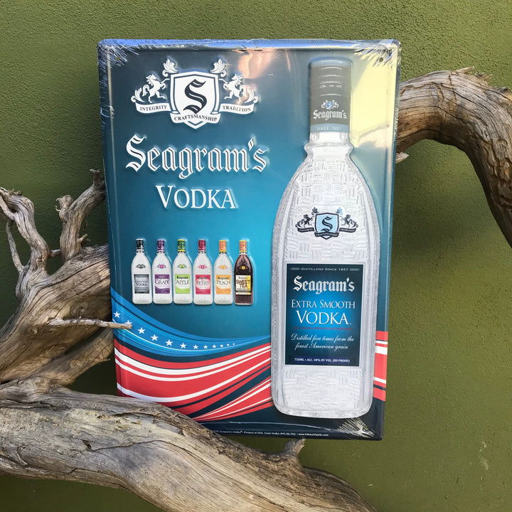 Seagram's Vodka American Flag Tin Tacker Metal Sign