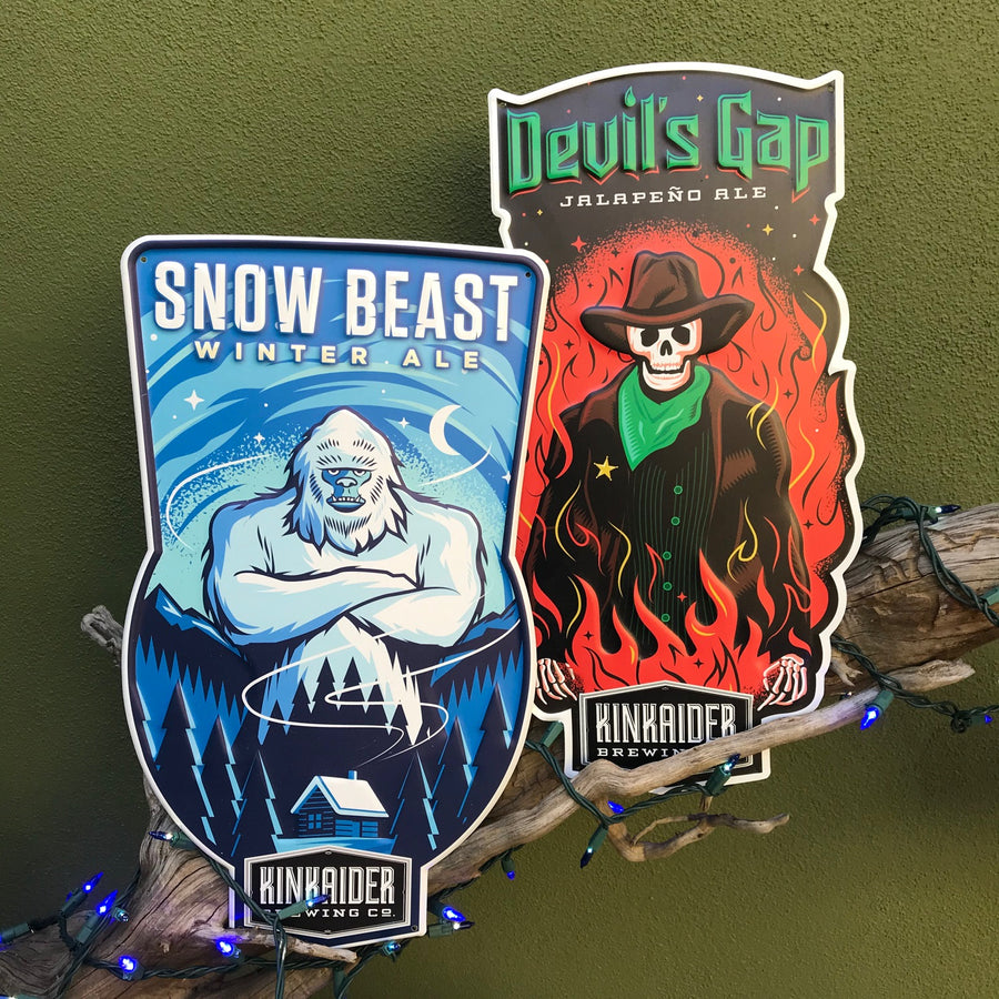 Set of 2 Kinkaider Brewing Co Devil's Gap and Snow Beast Tin Tacker Metal Beer Signs