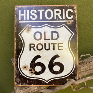 Vintage Look Historic Old Route 66 Highway Metal Sign Tin Tacker