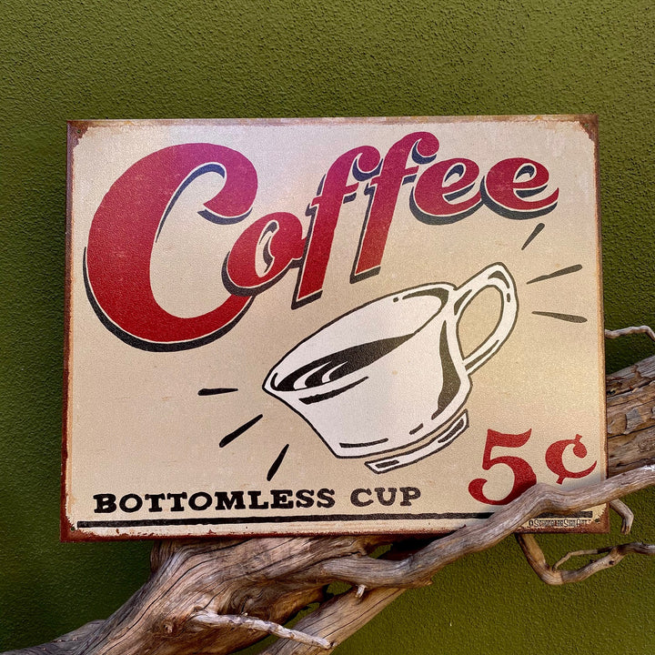 Vintage Look Coffee 5 Cents Metal Sign Tin Tacker
