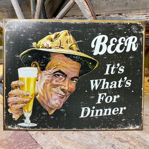 "Vintage Look ""Beer: It's What's For Dinner"" Metal Beer Sign Tin Tacker"