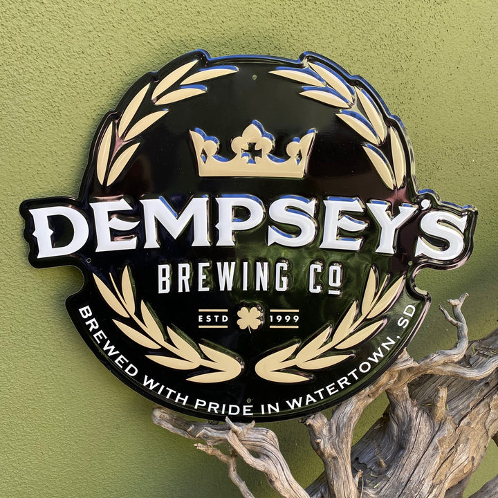 Dempsey's Brewing Co Embossed Aluminum Tin Tacker