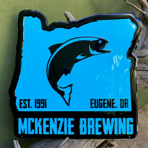 McKenzie Brewing Co Eugene Oregon Tin Tacker Metal Beer Sign