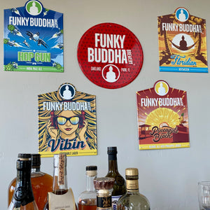 Set of 5 Funky Buddha Brewery Collection Tin Tacker Metal Beer Signs