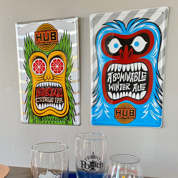 Set of 2 Hopworks Urban Brewery HUB Ferocious and Abominable Winter Ale Tin Tackers