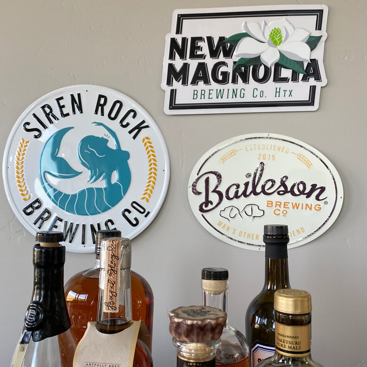 Set of 3 Texas Beer Signs Siren Rock / Baileson / New Magnolia Tin Tackers