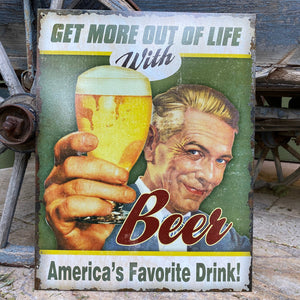 "Vintage Look ""Beer - America's Favorite Drink"" Metal Beer Sign Tin Tacker"