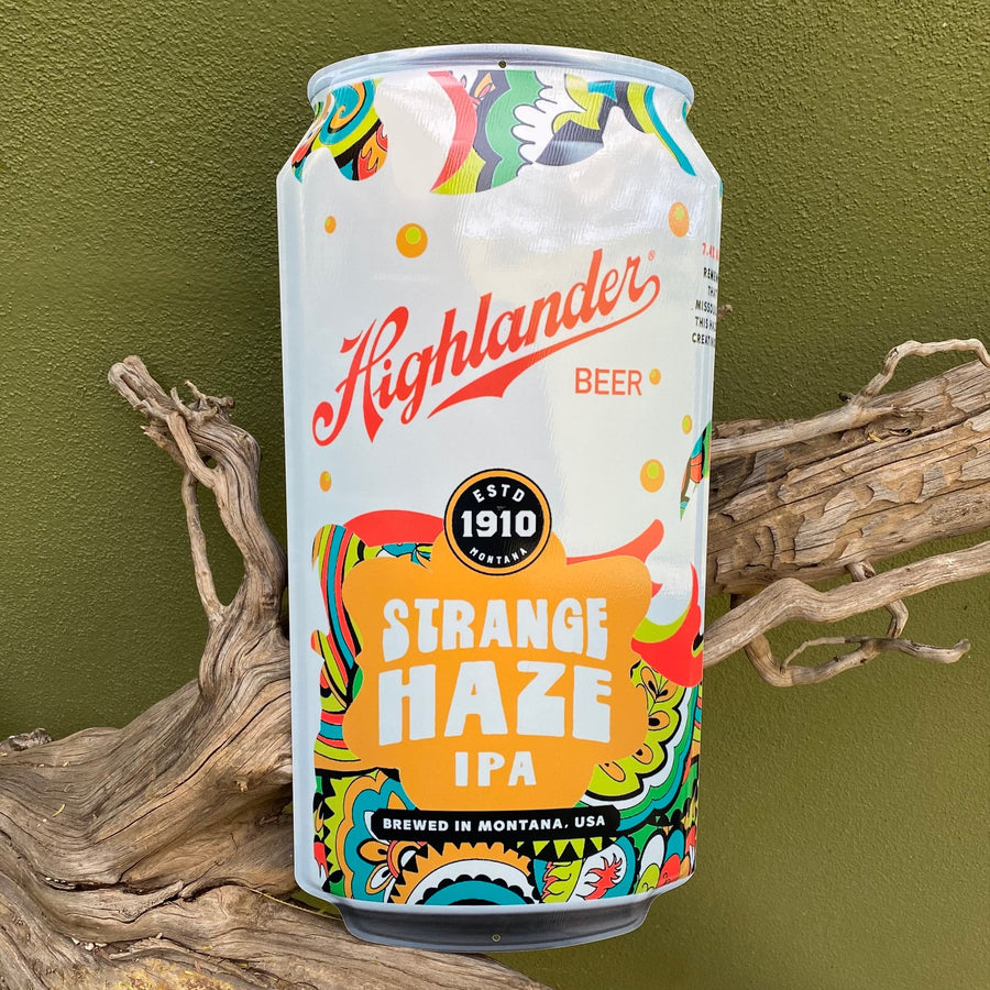 Highlander Beer Strange Haze IPA Can Tin Tacker Metal Beer Sign