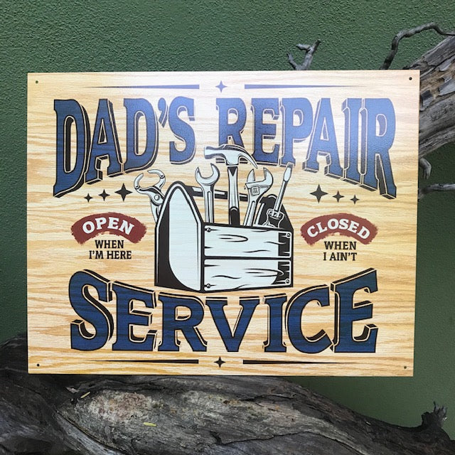 "Vintage Look ""Dad's Repair Service"" Metal Sign Tin Tacker"