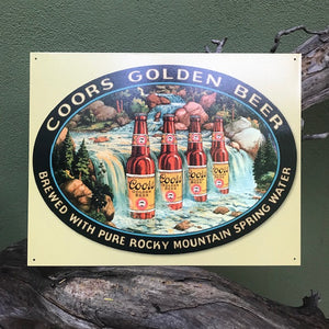 "Vintage Look ""Coors Golden Beer"" Coors Waterfall Metal Beer Sign Tin Tacker"
