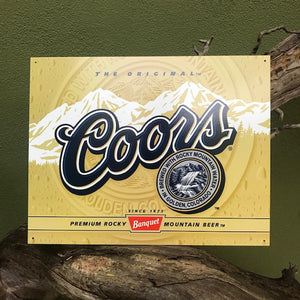 """The Original Coors"" Metal Beer Sign Tin Tacker"
