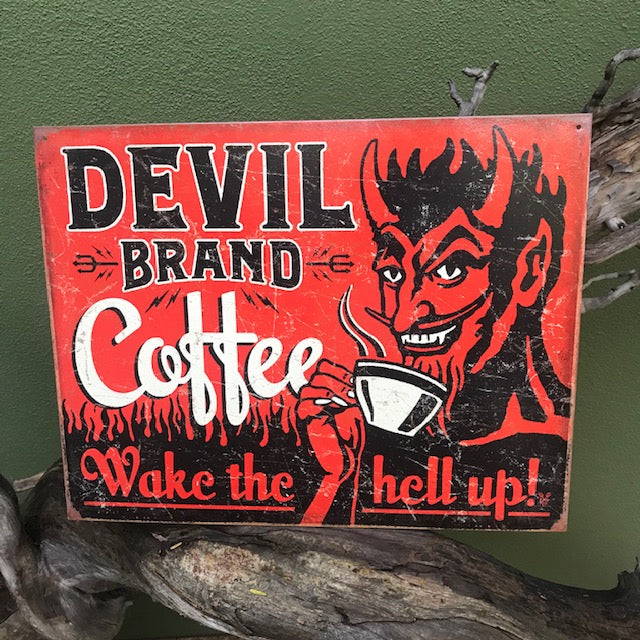 "Vintage Look ""Devil Brand Coffee"" Metal Sign Tin Tacker"
