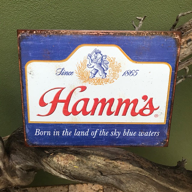 Hamm's Sky Blue Waters Retro Metal Beer Sign Tin Tacker Vintage Look