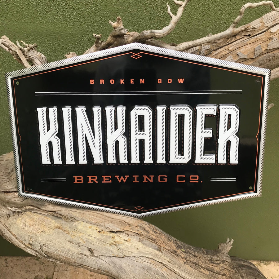 Kinkaider Brewing Co Logo Tin Tacker Metal Beer Sign