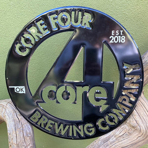 Core Four 4 Brewing Co Laser Cut Tin Tacker Metal Beer Sign