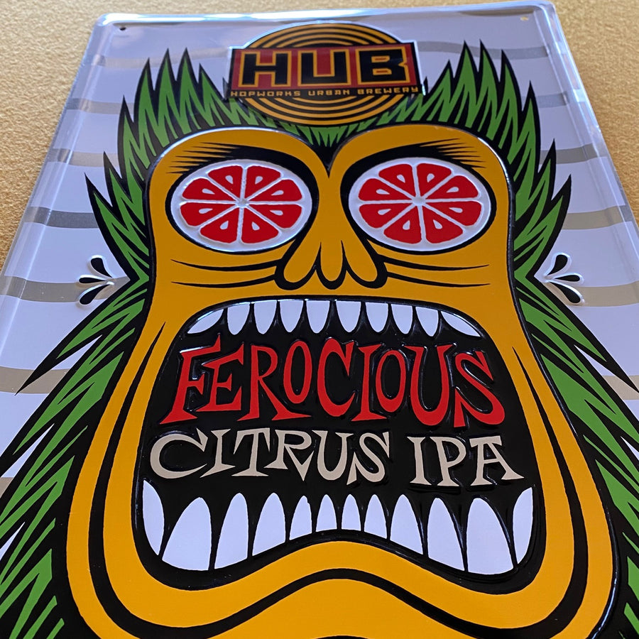 Hopworks Urban Brewery HUB Ferocious Citrus IPA Metal Beer Sign Tin Tacker