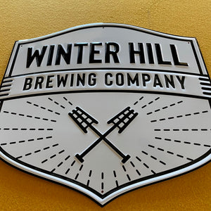 Winter Hill Brewing Embossed Aluminum Sign Tin Tacker