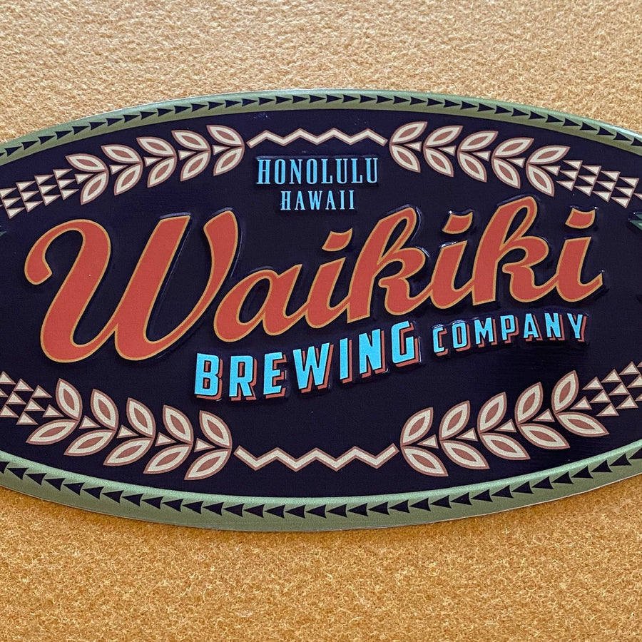 Waikiki Brewing Co Small Logo Tin Tacker Metal Beer Sign