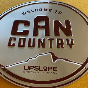 Upslope Brewing Co Welcome to Can Country Tin Tacker Metal Beer Sign