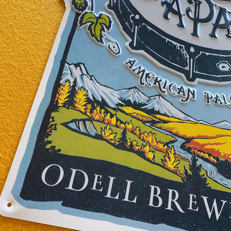 Odell Brewing Co Drumroll APA Tin Tacker Metal Beer Sign