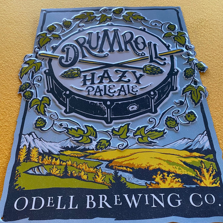 Odell Brewing Co Drumroll Hazy Pale Ale Tin Tacker Metal Beer Sign