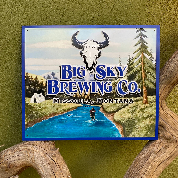 Big Sky Brewing Co Logo Fly Fisherman Tin Tacker Metal Beer Sign
