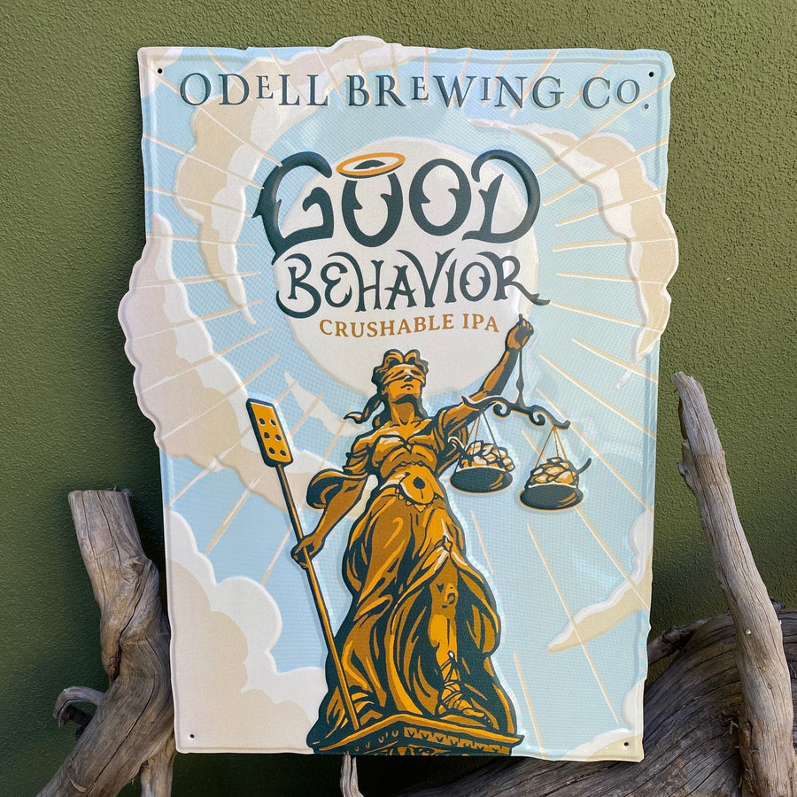 "Odell Brewing Co ""Good Behavior Crushable IPA"" Tin Tacker Metal Beer Sign"
