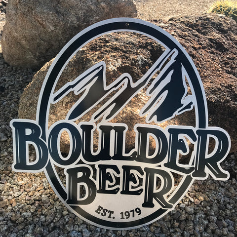 Boulder Beer Co Die Cut Logo Tin Tacker Metal Beer Sign