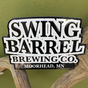 Swing Barrel Brewing Co Moorhead, MN Logo Tin Tacker Metal Beer Sign