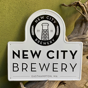 New City Brewery Easthampton, Massachusetts Logo Tin Tacker Metal Beer Sign