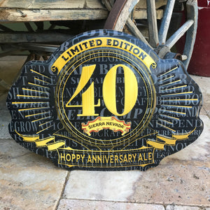 Sierra Nevada Brewing Co 40th Anniversary Limited Edition Tin Tacker Metal Beer Sign