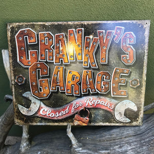 """Cranky's Garage"" Aluminum Sign"