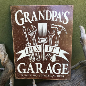 "Vintage Look ""Grandpa's Fix It Garage"" Metal Sign Tin Tacker"