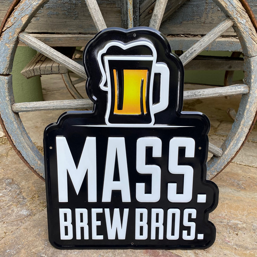 Mass Brew Bros Embossed Aluminum Tin Tacker