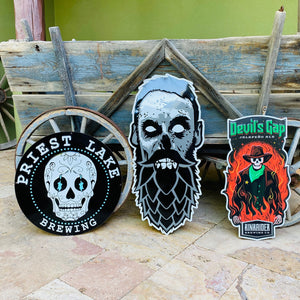 Set of 3 Beer Zombies, Devil's Gap, and Priest Lake Brewing Co Tin Tackers