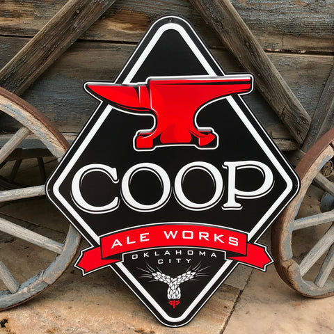 COOP Ale Works Tin Tacker Metal Beer Sign