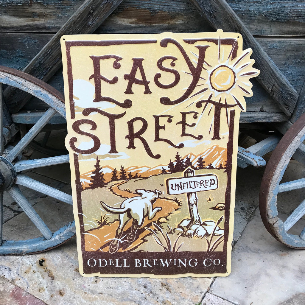 "Redesigned Odell Brewing Co ""Easy Street Wheat Beer"" Tin Tacker Metal Beer Sign"