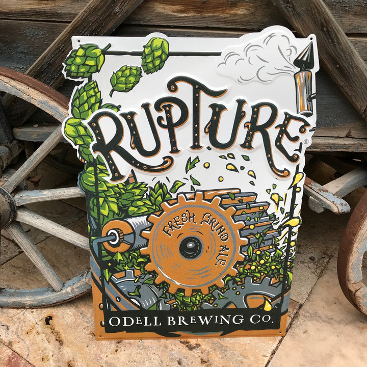 "Odell Brewing Co ""Rupture"" Tin Tacker Metal Beer Sign"