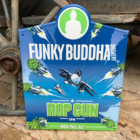 Funky Buddha Brewery Hop Gun IPA Tin Tacker Metal Beer Sign