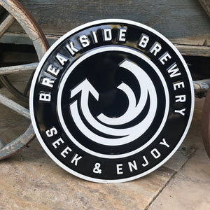 Breakside Brewery Seek & Enjoy Tin Tacker Metal Beer Sign